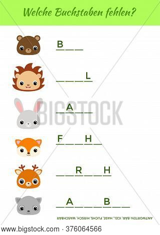 Welche Buchstaben Fehlen? - What Letters Are Missing? Educational Activity Page For Study German. Co
