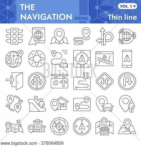 Navigation Thin Line Icon Set, Direction Symbols Collection Or Sketches. Gps And Navigation Linear S
