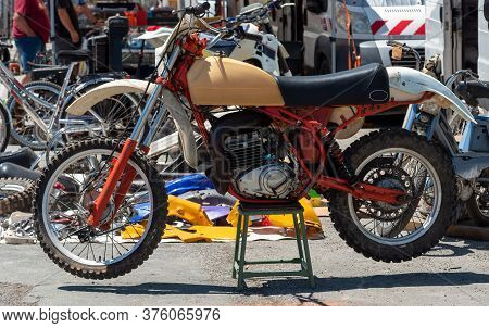 A View Of Old Vintage Motocross Bike