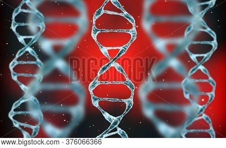 3d Render Of A Medical Background With Dna Strands In Color Background. Dna Molecule Structure. Heli