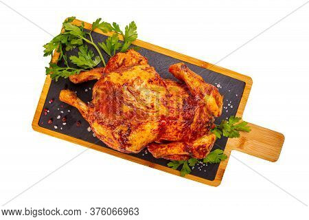 Whole Roasted Chicken On Slate Board, Flat Lay, White Background