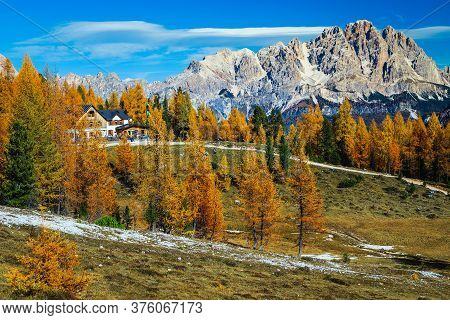 Cute Mountain Accommodation Place With Wooden House In The Forest. Beautiful Recreation And Hiking D