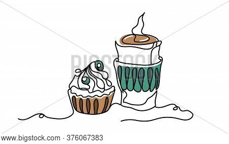 Linear And Coffee Vector Illustration Isolated On White Background.various Coffee Drinks Latte, Capp