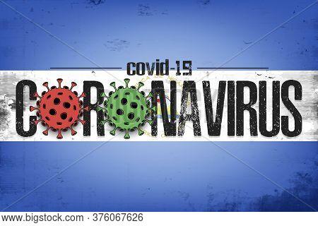 Flag Of Nicaragua With Coronavirus Covid-19. Virus Cells Coronavirus Bacteriums Against Background O