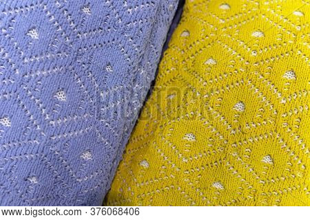 Yellow And Blue Knitted Woolen Pullovers, Openwork Pattern, Texture