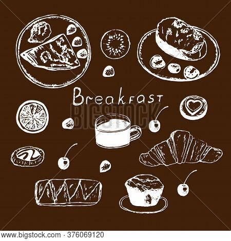 Breakfast Set, Vector Illustration, Coffee, Crepe With Berries, Toast, Croissant, Muffin, Pastry, Fr