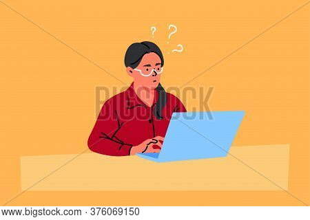 Business, Freelance, Problem, Thinking, Idea, Work Concept. Young Thoughtful Puzzled Businesswoman C