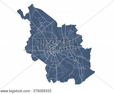 Cologne Map. Detailed Vector Map Of Cologne City Administrative Area. Dark Poster With Streets On Wh
