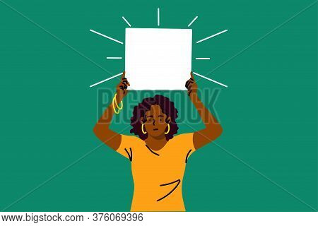 Protest, Activism, Discrimination, Banner Concept. Young Serious African American Woman Activist Pro