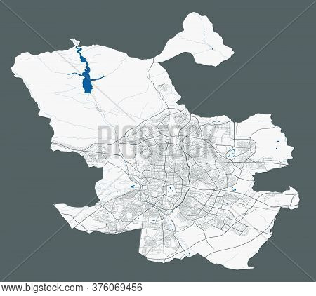 Madrid Map. Detailed Vector Map Of Madrid City Administrative Area. Poster With Streets And Water On