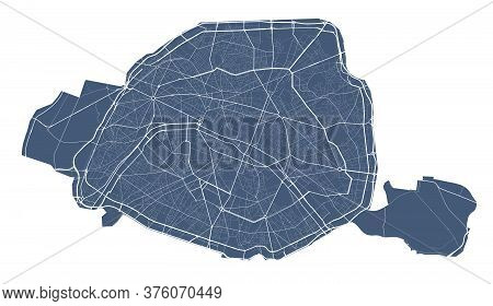 Paris Map. Detailed Vector Map Of Paris City Administrative Area. Dark Poster With Streets On White