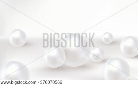 Pearl Background. Spherical Beautiful 3d Orbs. Vector.