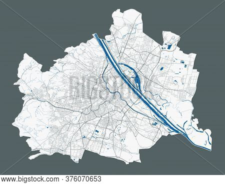 Vienna Map. Detailed Vector Map Of Vienna City Administrative Area. Poster With Streets And Water On
