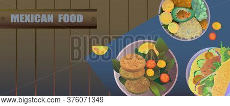 Mexican Food Stock Vector Illustration.bundle Of Horizontal Web Banners With National Meals Of Mexic