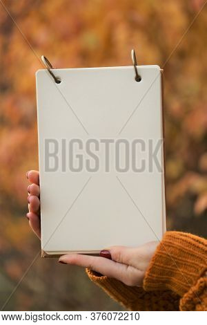 Autumn Mock Up.back To School. Blank White Notebook In The Hands On Blurred Yellow Autumn Foliage Ba