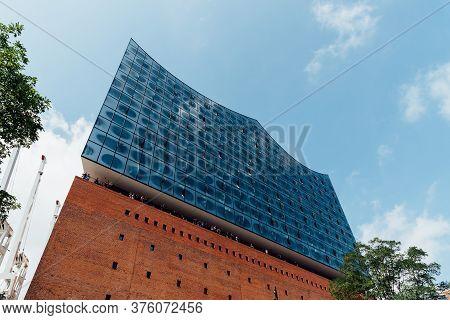 Hamburg, Germany - August 7, 2019: Elbphilharmonie Or Elbe Philharmonic Hall In The Hafencity Quarte