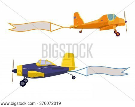 Flying Advertising Banners Pulled By Light Planes. Agricultural Aircraft Isolated On White Backgroun