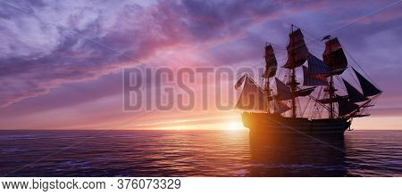 Pirate ship sailing on the ocean at sunset. Retro adventure. 3D illustration