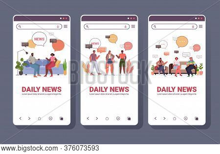 Mix Race People Discussing Daily News During Meeting Chat Bubble Communication Concept Smartphone Sc