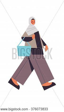 Arabic Woman Walking In Traditional Clothes Arab Smiling Girl With Handbag Female Cartoon Character