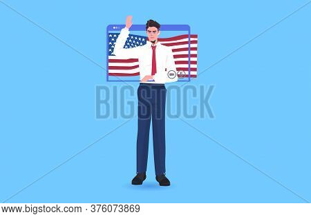Male Politician With Usa Flag Making Speech During Video Call 4th Of July Independence Day Celebrati