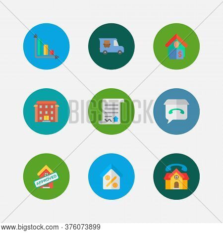 Real Estate Icons Set. Tenant And Real Estate Icons With Transfer Truck, Contract And Residential Ar