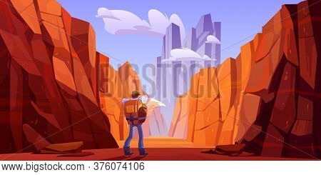Hiker Man With Map On Desert Road In Canyon With Red Mountains. Vector Cartoon Landscape Of Nature P