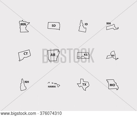 Us Map Icons Set. America And Us Map Icons With Trip, Connecticut And Hawai. Set Of Shape For Web Ap