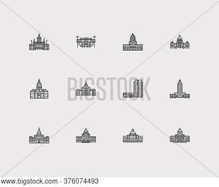 Landmark Icons Set. Connecticut State Capitol And Landmark Icons With Vermont State Capitol, Louisia