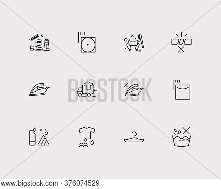Laundry Icons Set. Hang To Dry And Laundry Icons With Detergent, Appliance And Do Not Wash. Set Of A
