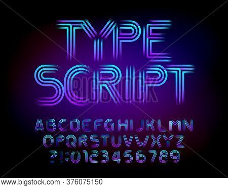 Abstract Alphabet Typescript. Brushed Letters And Numbers. Easy Color Change. Stock Vector Font For