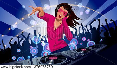 Disc jockey girl with a DJ mixer and people dancing at a night party