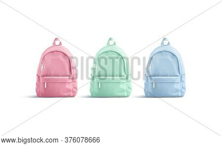 Blank Colored Closed Backpack With Zipper Mockup, Front View, 3d Rendering. Empty Pink, Green, Blue