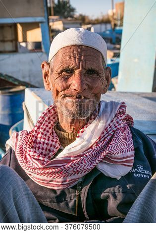 Hurgada, Egypt-Jan 30, 2020.  Old Egyptian portrait in traditional costume, Hurghada. Egypt.
