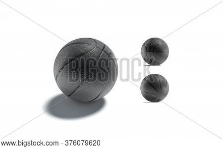 Blank Black Basketball Ball Mockup, Different Sides, 3d Rendering. Empty Round Basket Equipment Mock