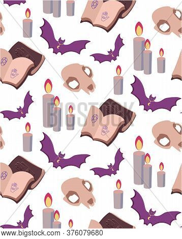 Seamless Vector Pattern Prediction The Future, Magic, Mystic. Attributes Of Occultism. Purple And Be