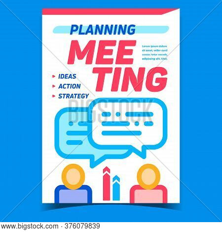 Meeting Planning Creative Promo Banner Vector. Human Colleagues Discussing And Planning About Ideas,