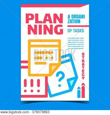Planning And Organization Tasks Banner Vector. Business Planning Strategy And Solution On Stationery