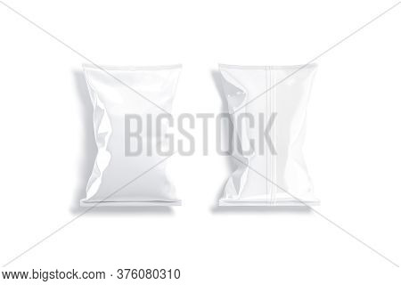 Blank White Foil Big Chips Pack Mock Up, Top View, 3d Rendering. Empty Polythene Sachet Package For