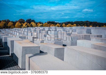 Berlin, Germany - 20 September 2019: Memorial to the Murdered Jews of Europe in Berlin, Germany