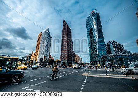 Berlin, Germany - 20 September 2019: Crossroads with traffic on Potsdamer Platz in Berlin, Germany