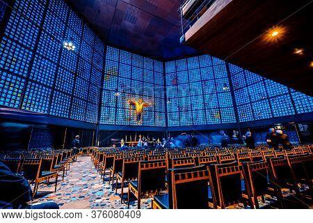 Berlin, Germany - 20 September 2019: Kaiser Wilhelm Memorial Church interior with crucifix