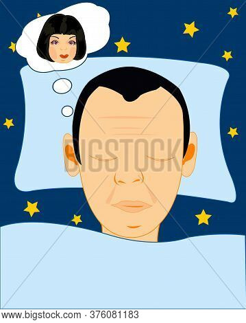 Man Sees In The Night Dream With Beautiful Girl