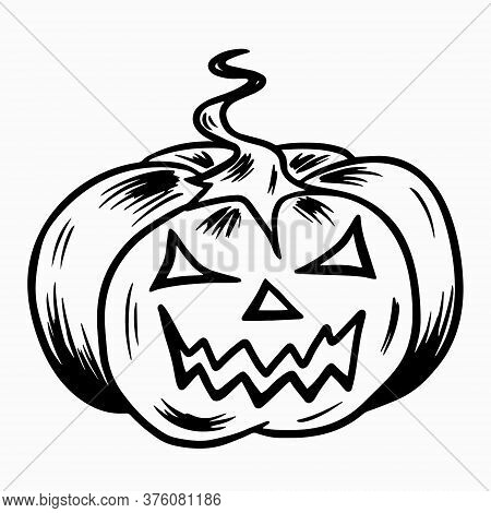 Halloween Pumpkin. Hand Drawn Doodle Symbol Of All Saints Day. A Large Pumpkin With A Tail And Cut E