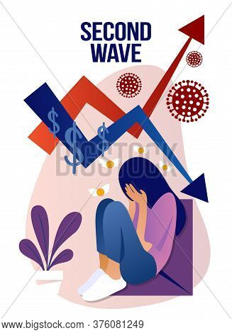 Coronavirus, Second Wave -quarantine, Stay Home, Financial Crisis Beautiful Sad  Woman Sitting At Ho