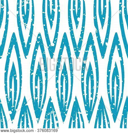 Vector Stylized Blue Leaves Geometric Seamless Vector Pattern Background With Snowflace Texture. Ele
