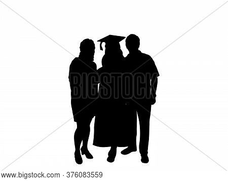 Silhouette Young Girl Graduate Hugging His Parents At Graduation. Illustration Graphics Icon