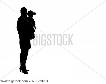 Silhouette Of Business Mum With Little Boy Son. Illustration Graphics Icon