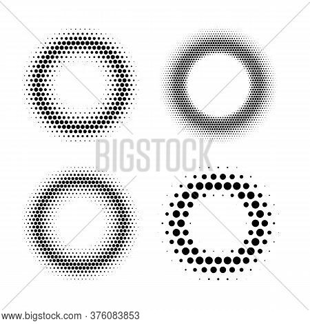 Four Halftone Radial Gradient In Circle Shape Polygonal Form Abstract Design Element Set Isolated On