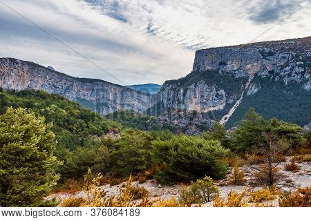 Verdon Gorge, Gorges Du Verdon, Amazing Landscape Of The Famous Canyon With Winding Turquoise-green
